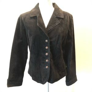 Live a Little Black Leather Button Front Blazer
